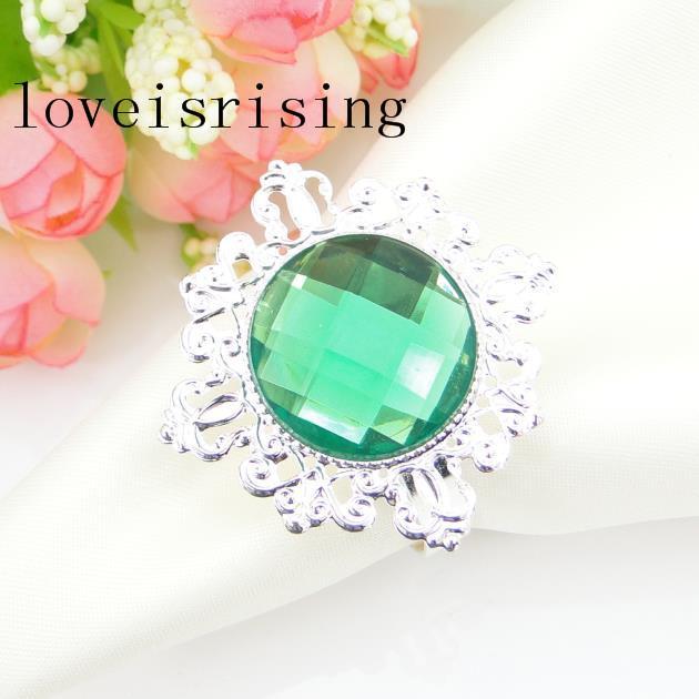 Darmowa Wysyłka-100 SZTUK Wysokiej Jakości Zielony Kolor Gem Vintage Style Pierścionki Serwetki Wedding Bridal Serwis