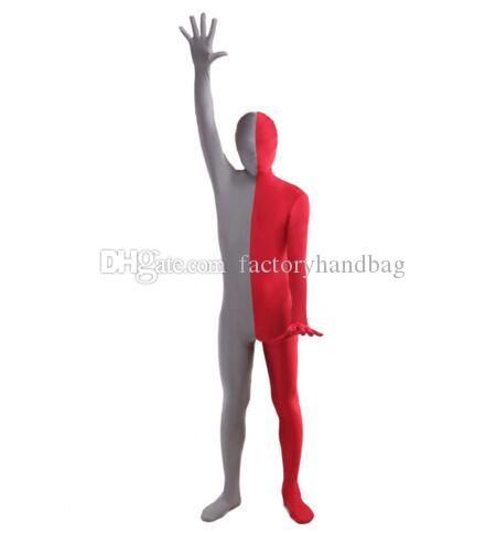Silver And Red Split Zentai Lycra Spandex Full Bodysuit