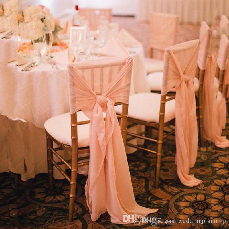 Più nuovo Chiffon Chair Sash Simple Chair Cover per Weddding Custom Made Factory di alta qualità in vendita Wedding Fornitori Accessori