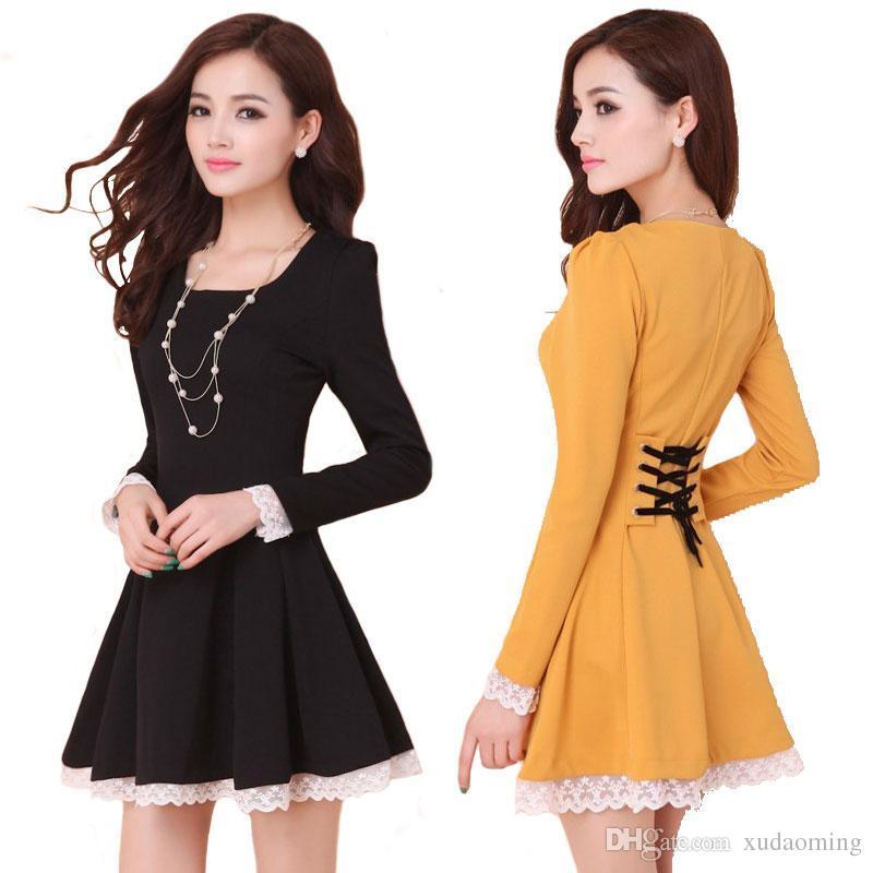 Vestidos baratos del verano Mujer para 2016 Nueva Moda Ropa Casual Señoras Volver Cross Mini vestido de encaje Vestidos