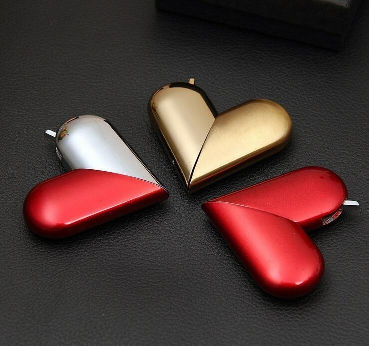 Herzförmige faltbare Butan-Feuerzeug-Flamme-aufblasbare Metall-Gas-Feuerzeuge zum Rauchen Zigarettenrohre Zubehör Küchenwerkzeuge