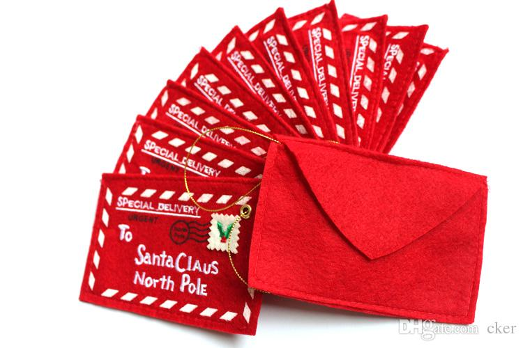 cker Merry Christmas red letter to Santa claus tree stand Hanging 4.7x3.1inch(12x8cm) candy bag Gift party decor(pack of 5)