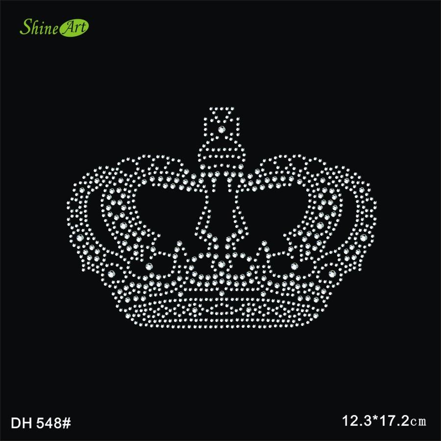 Free shipping Crown Rhinestones iron on crystal transfers design rhinestone iron on transfers designs patches DIY DH548#
