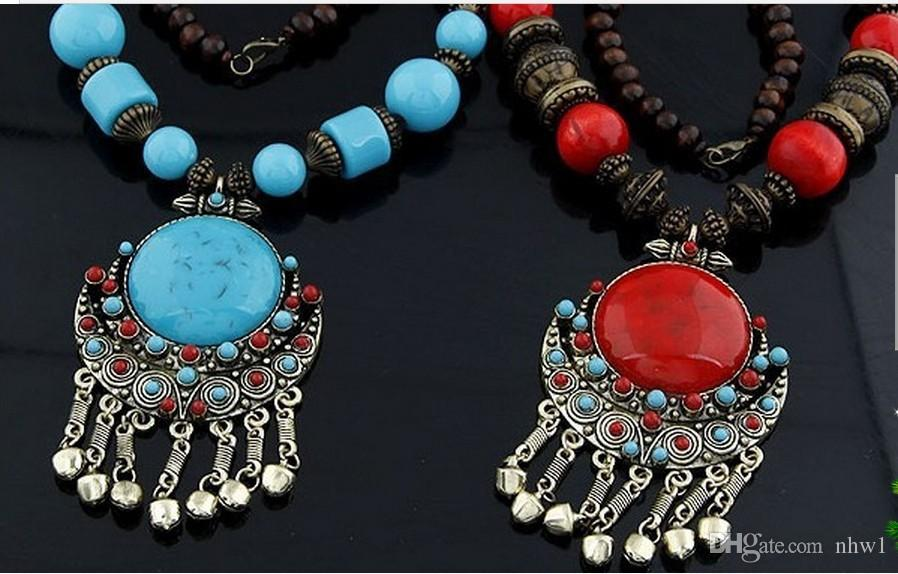 Bohemia Wood Beaded Gemstone Necklaces Women Ladies Dress Sweater Pendant Clothes Jewelry National Long Necklace For Beach