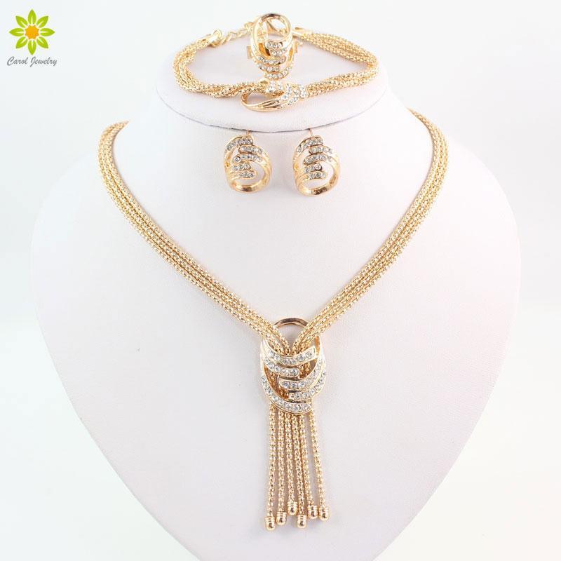 Ultime Fashion Beads Africani Parure di gioielli Costume da donna Collana in oro placcato in oro con cristalli Collana con orecchino a forma di braccialetto