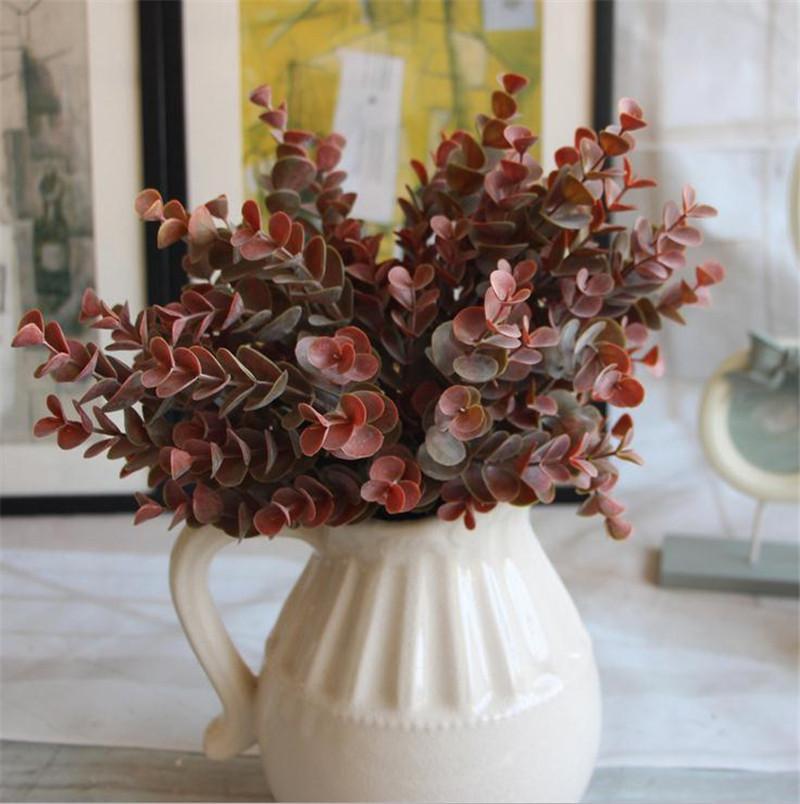 "Plásticos Autumn Pilea Peperomioides Diels 31cm / 12.4 ""longitud flores artificiales Eucalipto verde para bricolaje ramo de novia accesorios"