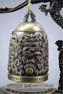Exquis style bronze fait à la main sculpté Dragon Bouddha Bell