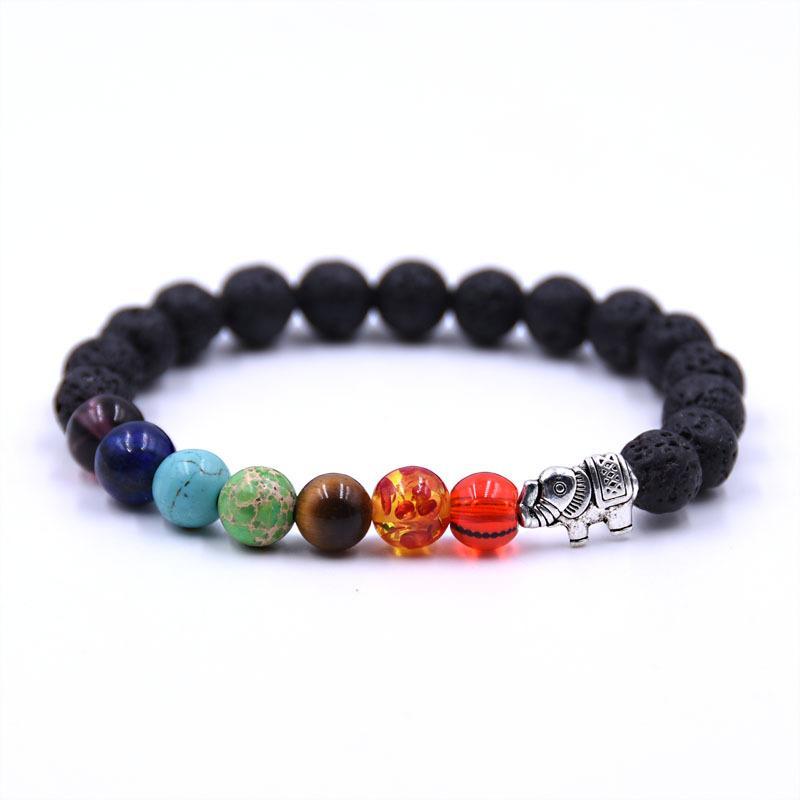 Volcano Armband Modeschmuck natürliche Lava VolcanoTiger Auge Laip Amethyst Stein mit sieben Farbe Stein Perlen Armband Armreif Geschenk DIY