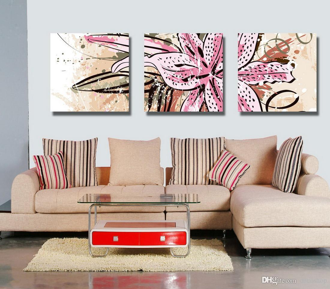Beautiful Flowers Abstract Floral Painting Giclee Print On Canvas Home Decor Wall Art Set30106