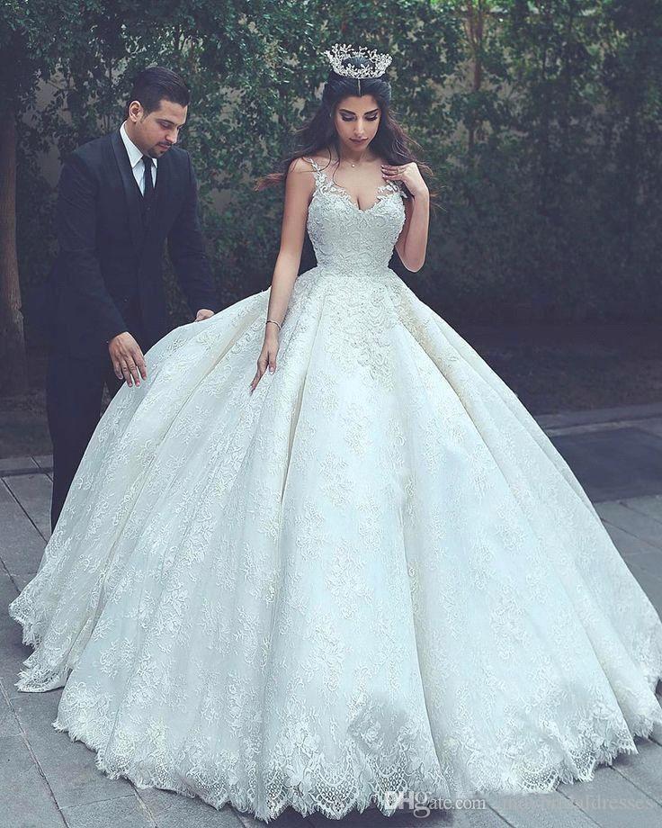 2018 Vestido De Novia Arabic Dubai Spaghetti Straps Elegant Wedding ...