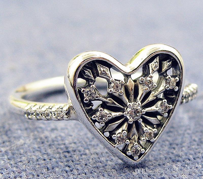 2017 neue 100% 925 Sterling Silber Europäischen Pandora Schmuck Herz von Winter Ring mit Cz Mode Charme RingRuby