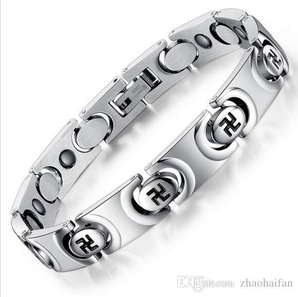 ZHF Bijoux Unisexe Magnet Bracelet Nouvelle Mode En Acier Inoxydable Bracelet Soins de Santé Guérison Femmes Hommes Bijoux Bio Energie GS3268