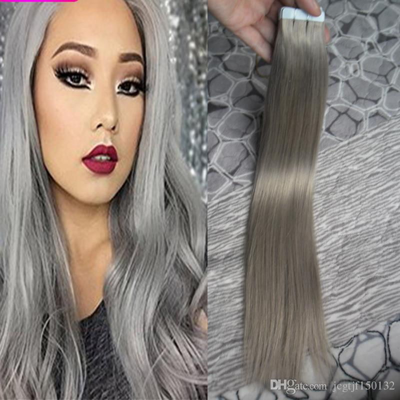 Silver Gray Hair Extensions Seamless Remy 100g Tape In Human Extensions 100g(40pcs) Pu Skin Weft Tape Hair Extensions Hair Products