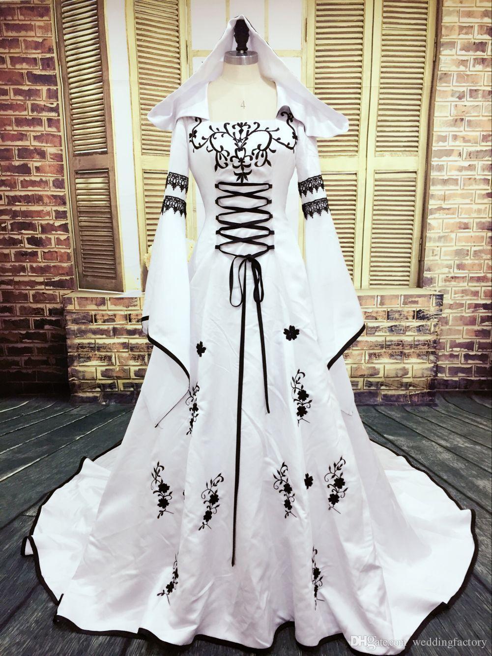 Real Bild Gothic Brautkleid Schwarzweiss-Muslim-Kleider mit Hut Exquisite Stickerei SpitzeAppliques Brautkleider Bell-Sleeves
