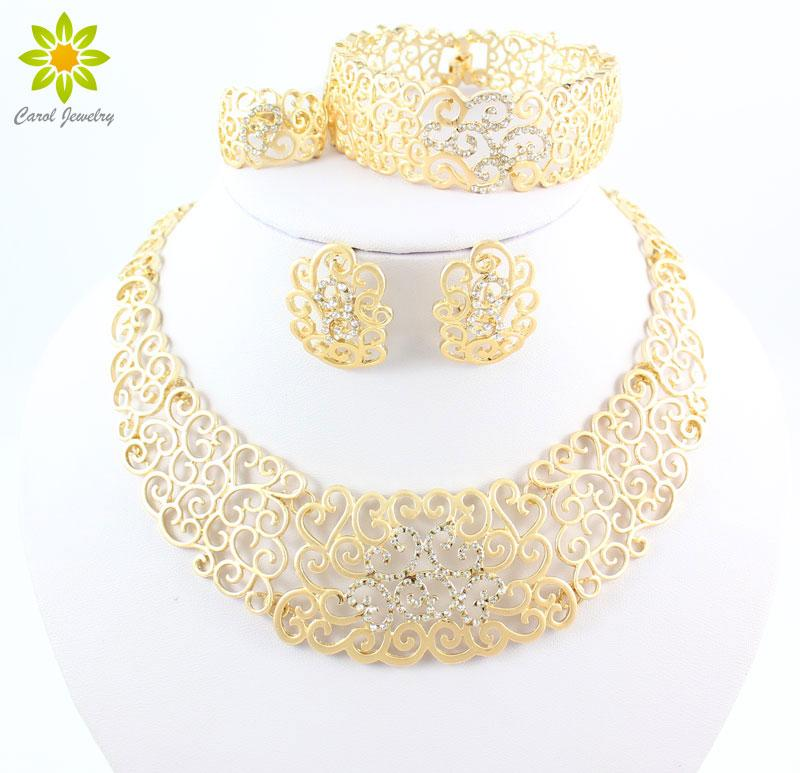 Vintage Hollow Crystal Flower Necklace Earrings 18K Gold Plated African Dubai Wedding Costume Jewelry Sets For Women