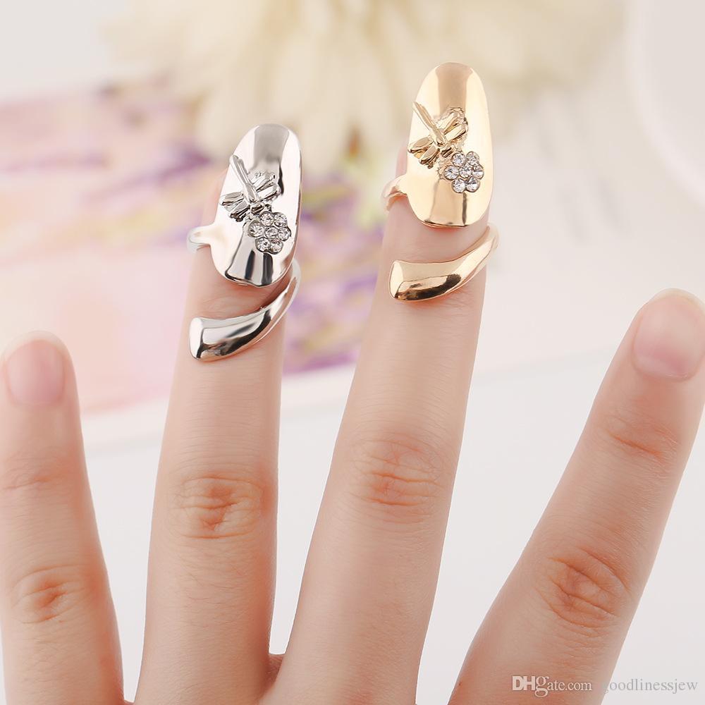 Ringen voor vrouwen praktische persoonlijkheid libel gouden bloemen nagelring gouden bloemen zilver vergulde legering ringen
