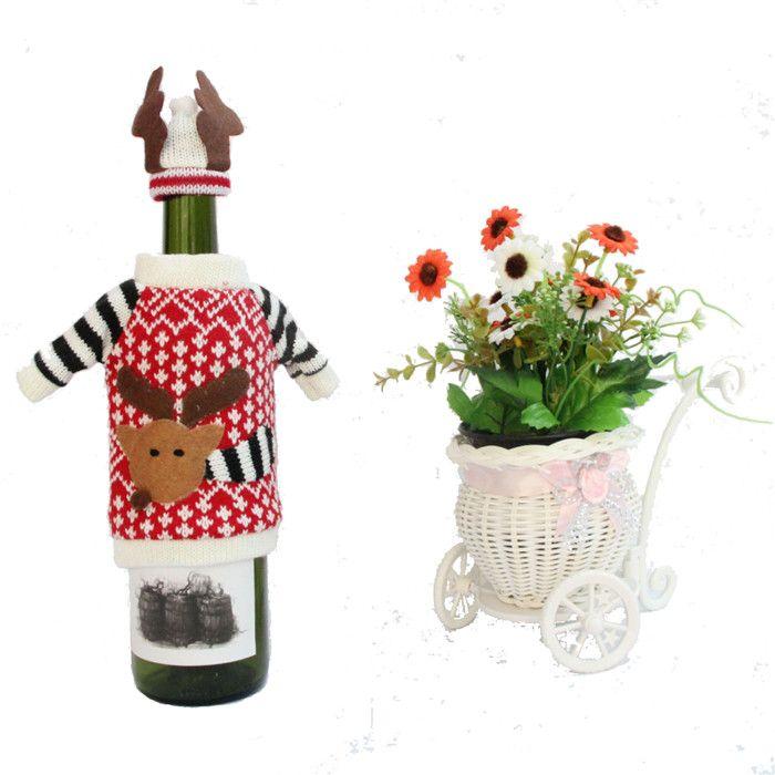 Noel hediye çanta aksesuarı sahne Kırmızı şarap şişesi şapka üstleri ve pantolon çantası Süslemeleri Şenlikli Parti Malzemeleri Mutfak Yemeği Süslemeleri