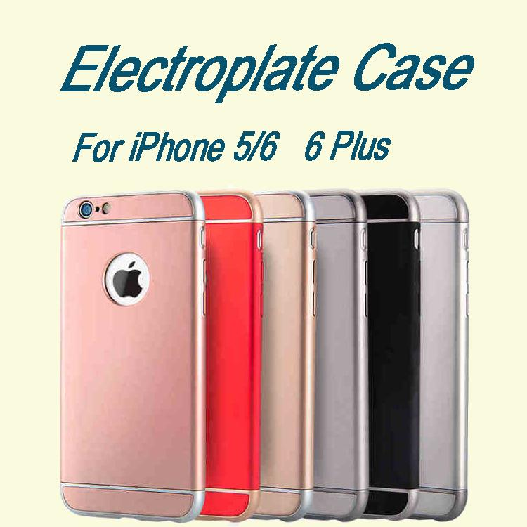New For Iphone 5s 6s 6plus Luxury Electroplate Pc Hard Case 3 In 1 Backcover With Ring Cellphone Stand DHL Free SCA136