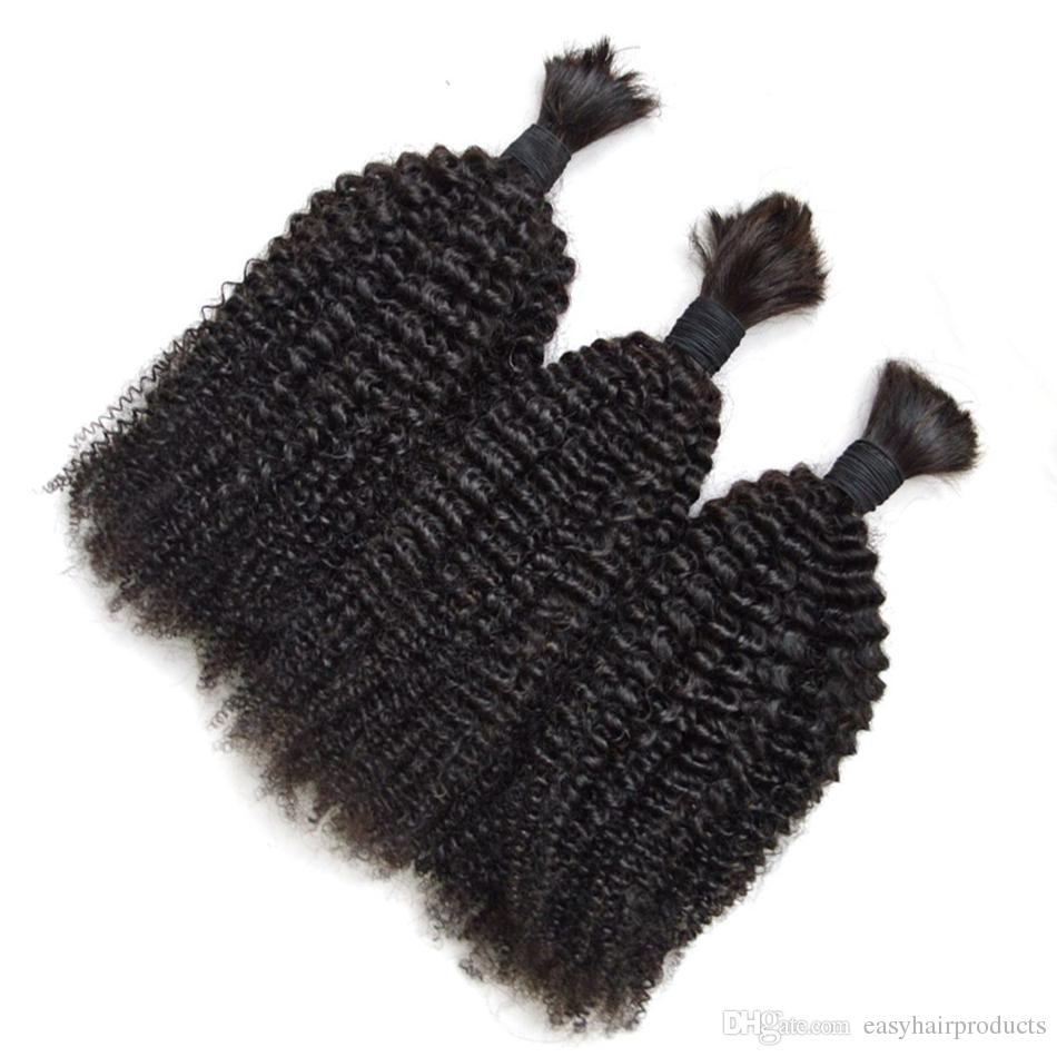 Afro Curly Human Hair Bulks No Weft Cheap Brazilian Kinky Curly Hair Extensions in Bulk for Braiding