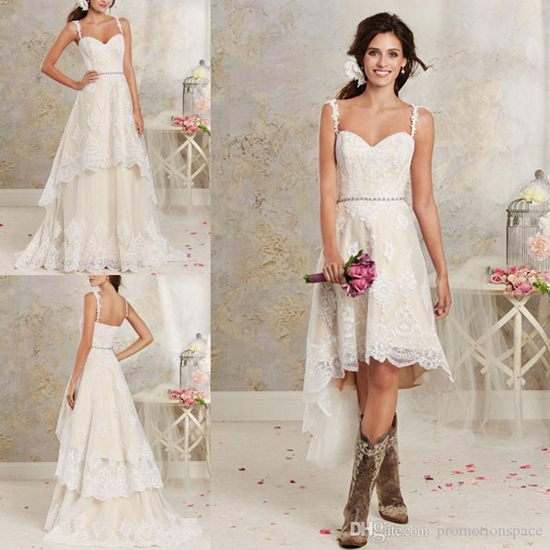Lace Country Wedding Dresses With Detachable Train High Low Short Bridal Dress Gown Floor Length Multi Layers Garden Bohemian Wedding Gowns Canada