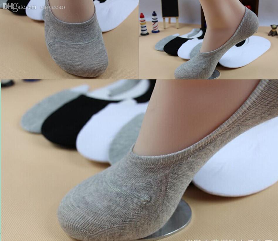 Al por mayor-Nuevo 2015 Unisex Loafer Boat antideslizante invisible No Show Liner antideslizante calcetines de algodón de corte bajo