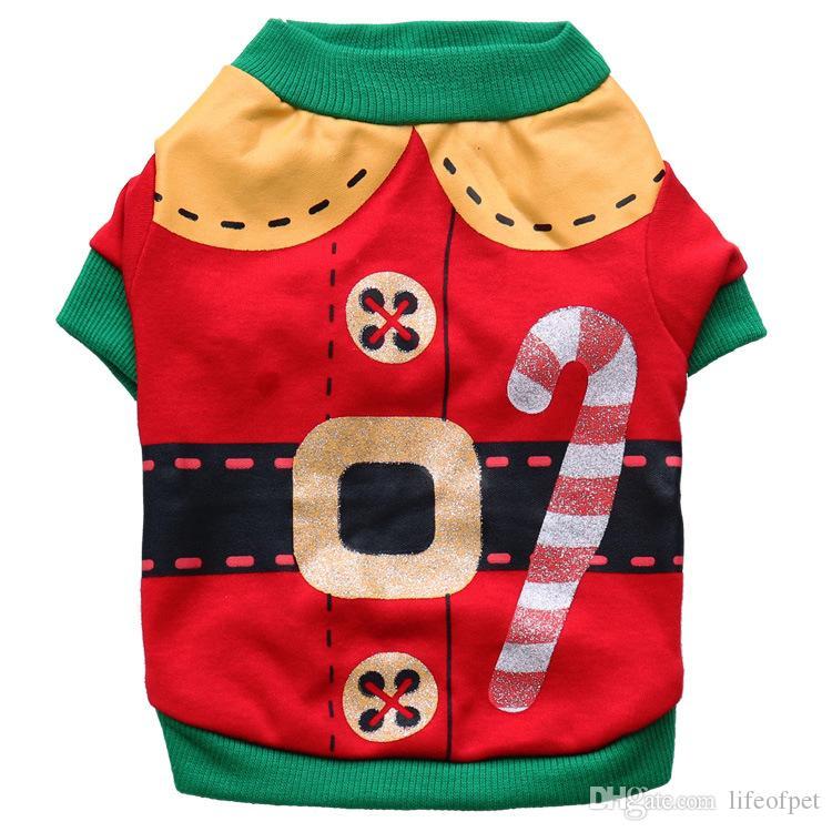 عيد الميلاد الحيوانات الأليفة زي بابا نويل ملابس هالوين الحيوانات الأليفة والملابس القطنية كلب صغير تشيهواهوا تيدي الملابس محفظة 5pcs / لوط Shippinng عن مجانية