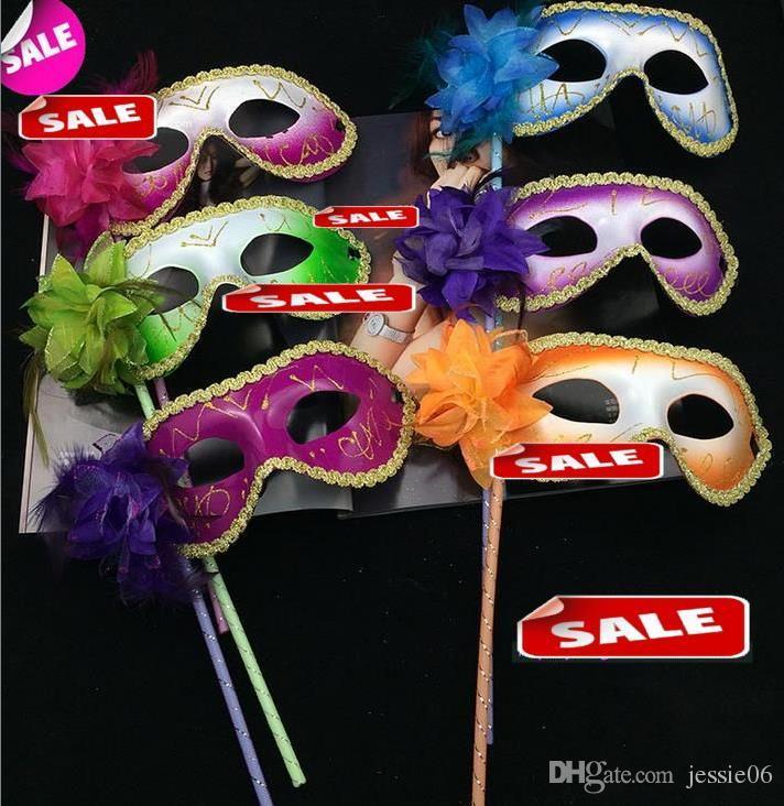 Venise mascarade plume fleur femmes masque sur bâton Mardi Gras Costume Halloween Carnaval Poignée Bâton fête masques fournitures de Noël