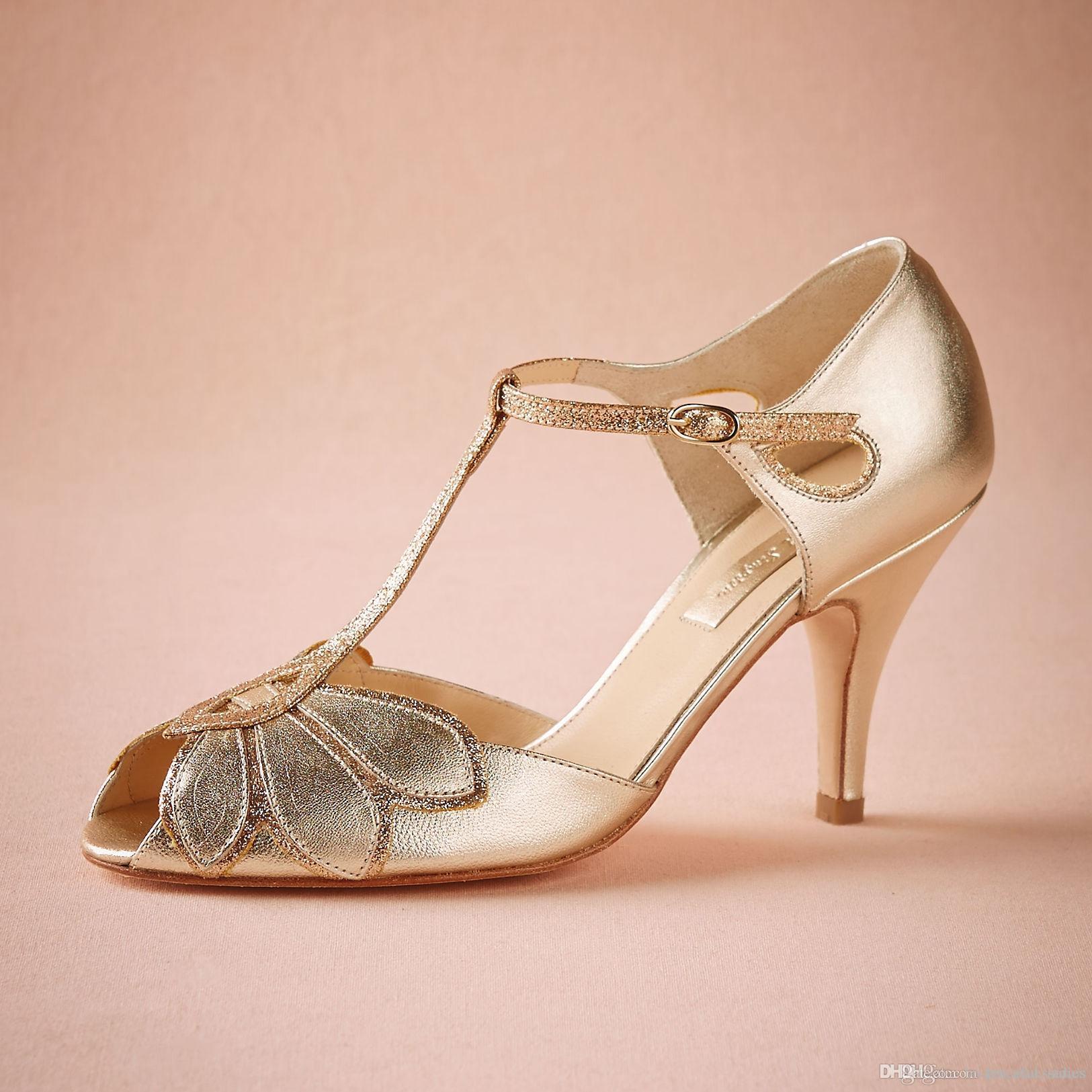 """Vintage chaussures de mariage en or femmes pompes chaton talon T-sangles boucle fermeture en cuir parti danse 3 """"talons femmes sandales taille faite sur commande"""