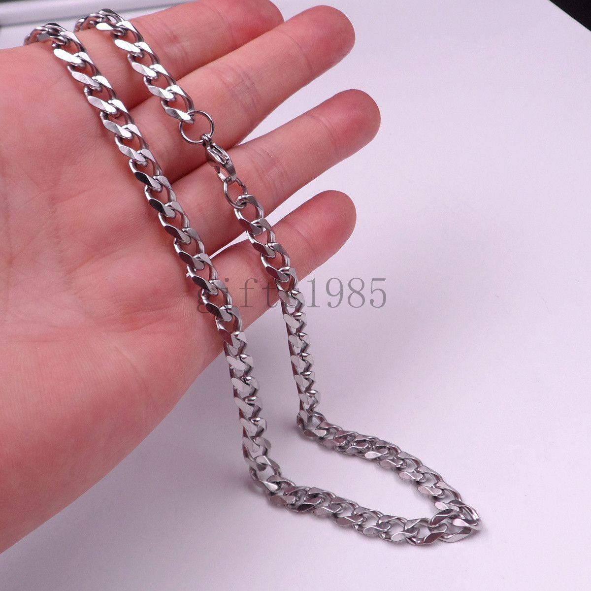 """Commercio all'ingrosso 18-40 """"Cool argento acciaio inossidabile 8mm moda uomo maglia link bracciale nave libera"""