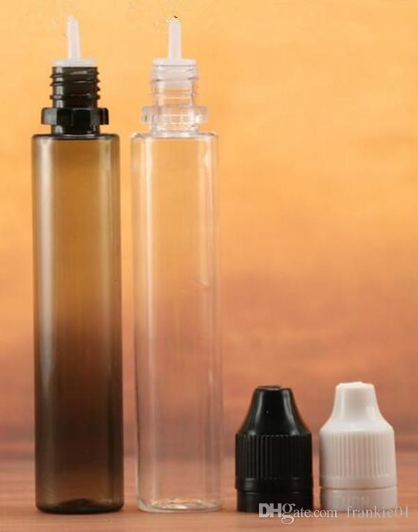 30 мл новый дизайн ребенок tamper доказательство vape ручка бутылка / PE черная бутылка / 1 унция ПЭТ прозрачный черный / ясно vape сок бутылка