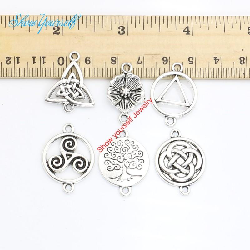 15pcs Antique Silver Golden Plated Vintage Tree of Life Flower Connectors Pendants for Jewelry Making DIY Handmade Craft 24x15mm