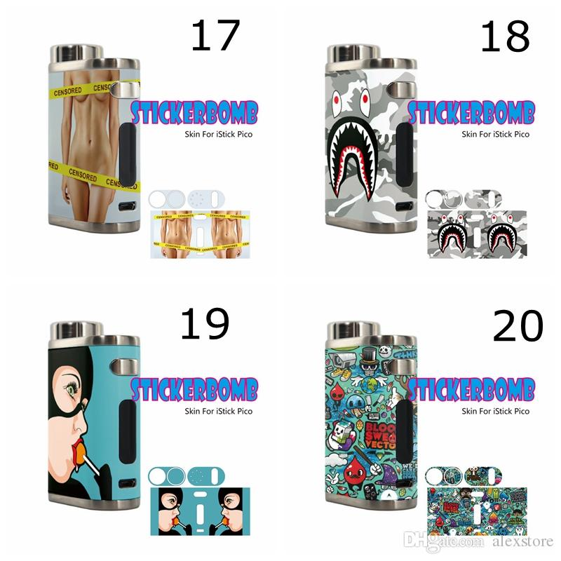 Skin Wraps Sticker For Eleaf Istick Pico 75w Tc Box Mod Starter Kit Protective Film Sticker Spare Parts With Fashion 38 Pattern Dhl Rope Winding