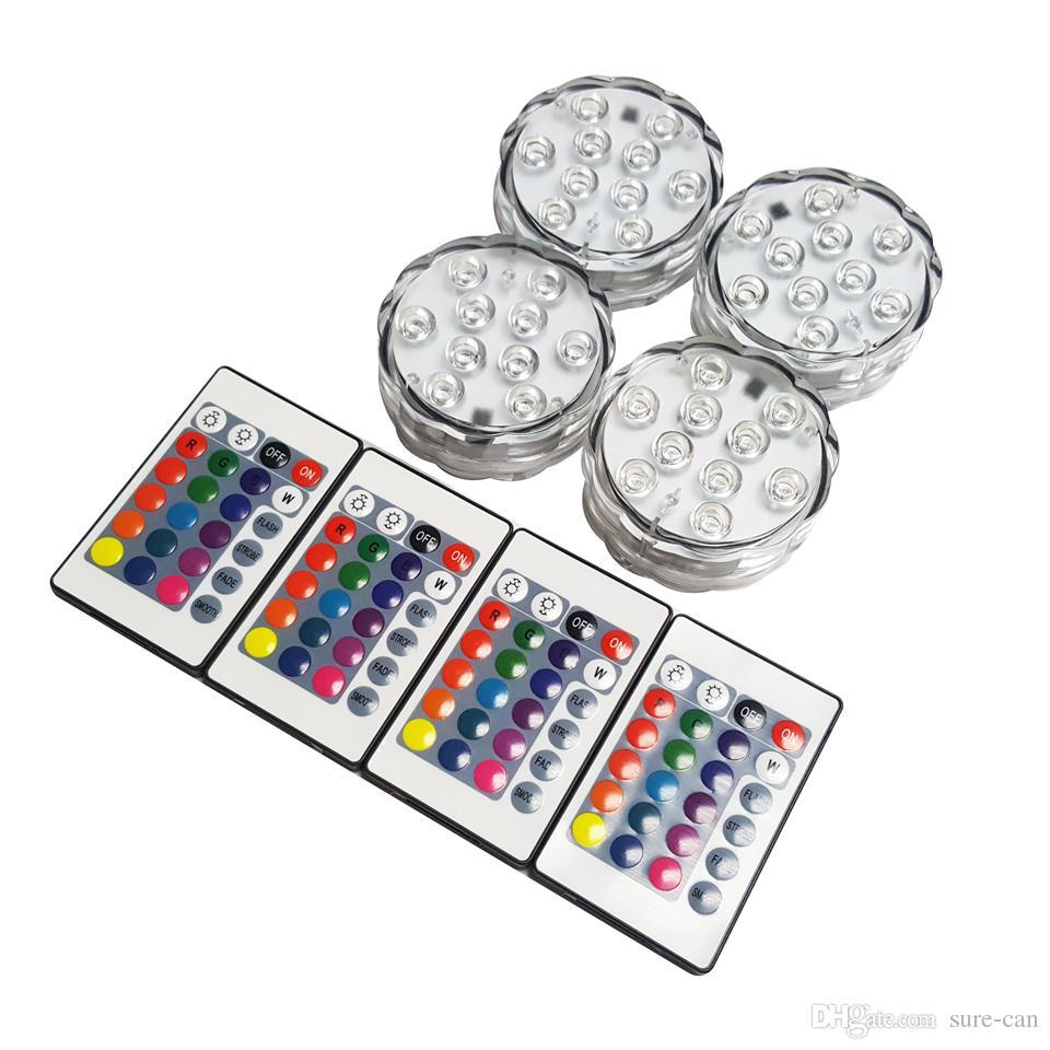 floralytes sumergibles LED controlados a distancia la luz del té floral llevó controlador RGB Vela 16 de cambio de color de la boda de Navidad