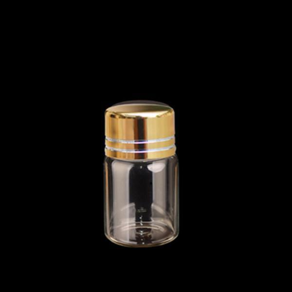 100 шт. 16*26.5 мм 2 мл Золотой пластик винтовая крышка стеклянные бутылки пустой прозрачный DIY стекло декоративные флаконы банки