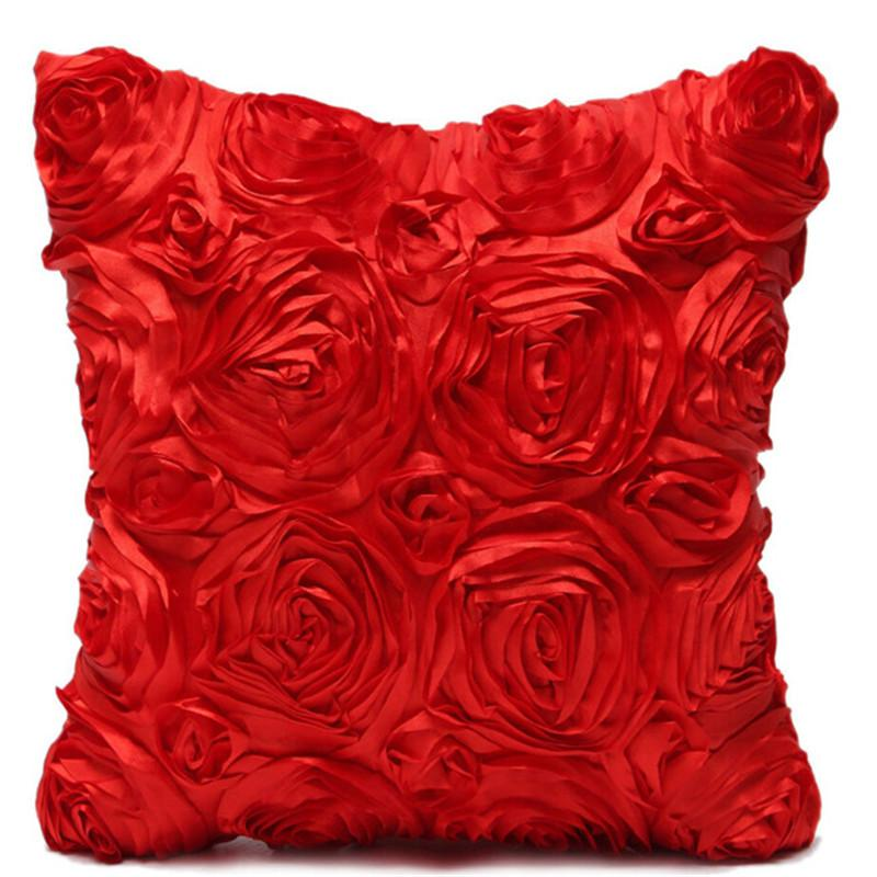 Wholesale- 2017 40*40cm Spandex Pillow Case Red Rose Flower Pillow Cover Cushion Hotels Pillowcase Home High Quality Free Shipping EF220