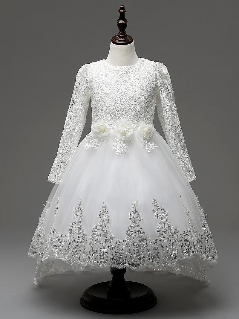 e57433052f Winter Long Sleeve Lace Children S Dresses Fashion Trailing Princess ...