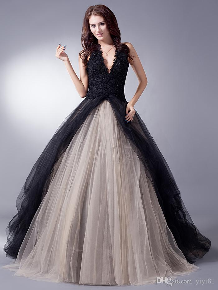 Black Nude Colorful Simple Tulle Wedding Dresses With Color Non White Princess Halter Bridal Gowns