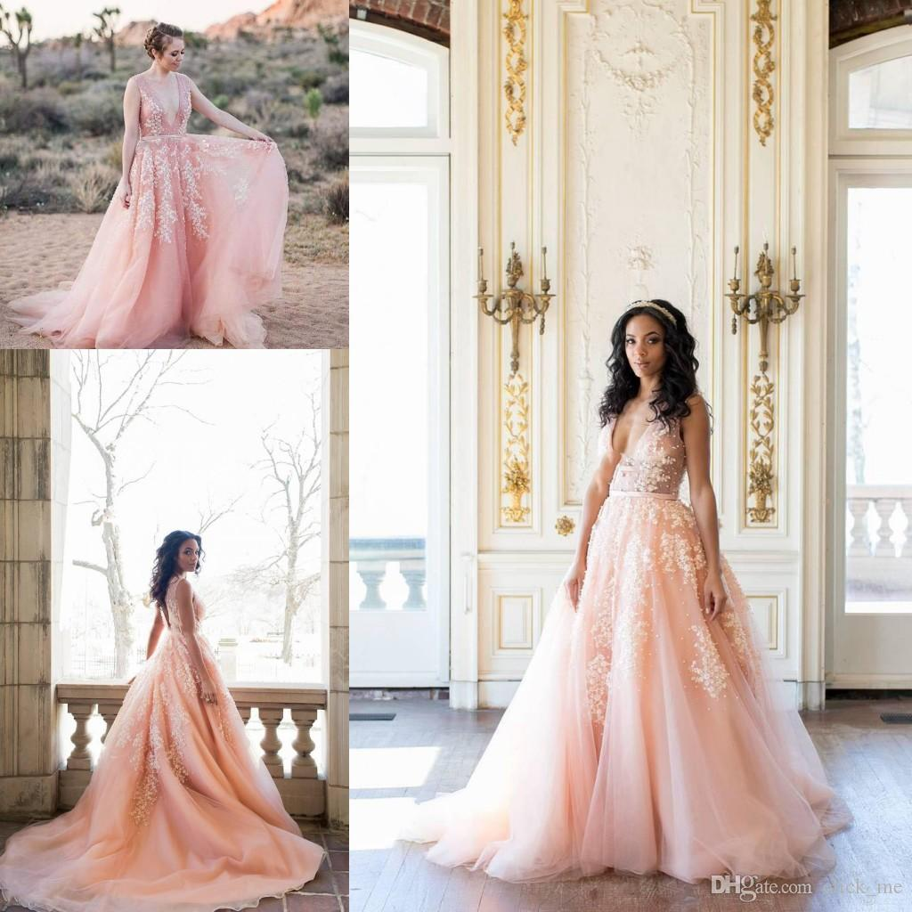 Discount Blush Pink Beach Wedding Dresses Backlesssheer Deep V Neck Beads Lace Appliques Country Wedding Dress Low Backless Sexy Bridal Gowns Lace