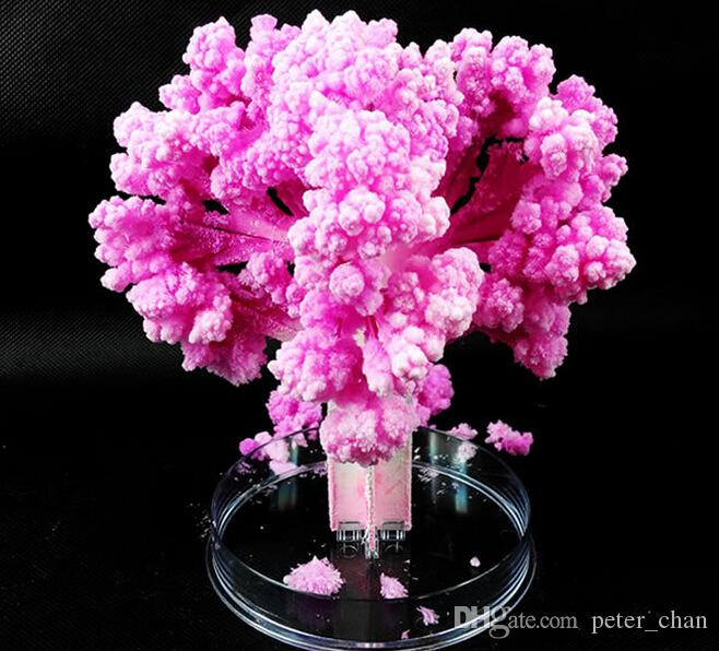 iWish 2017 14x11cm Visual Pink Big Grow Paper Japanese Magic Sakura Tree Magically Growing Trees Kit Desktop Cherry Blossom Christmas 2PCS