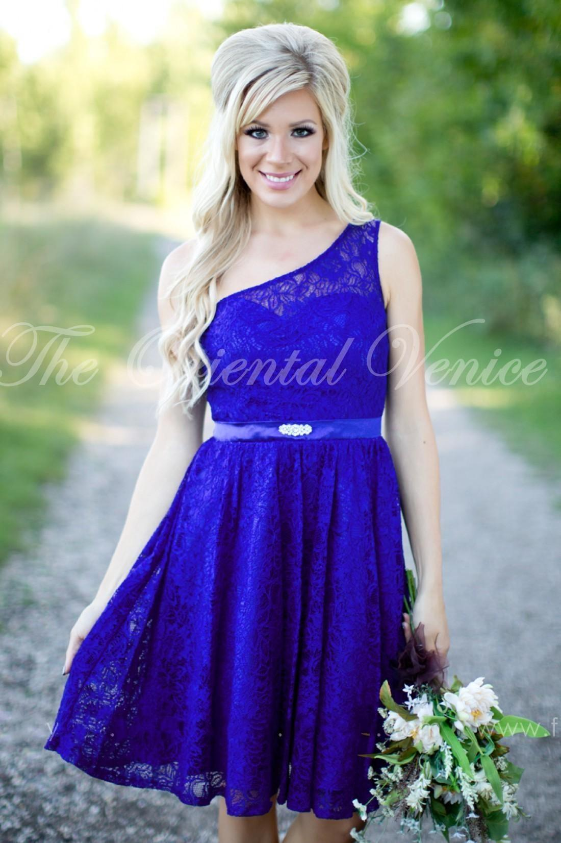 Country Style Beach Bridesmaid Dresses 2016 Royal Blue Lace Short ...