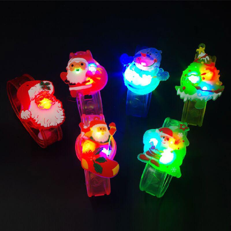 Wholesale- 1 x Hot Christmas watch Boys girls flash wrist band glow luminous Santa Claus bracelets Christmas party New Year gifts toys