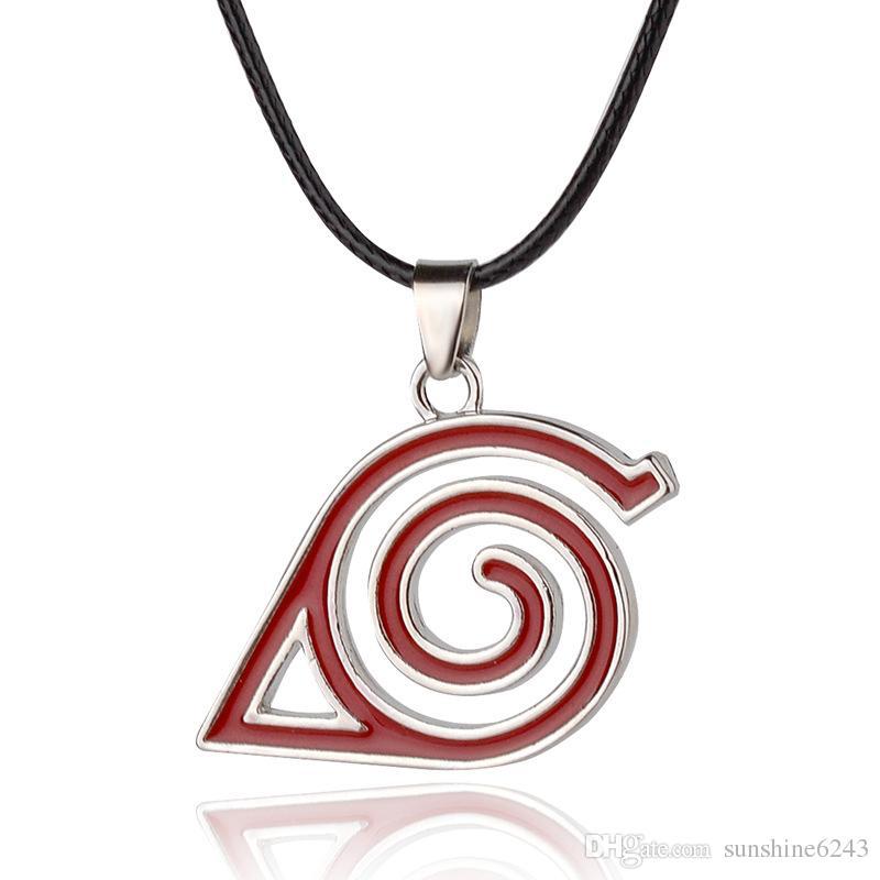 Lega per bambini Anime Cartoon Naruto Collana La foglia può Logo segno distintivo eddy Helix swirl Ciondolo rosso spirale collana linea elicoidale