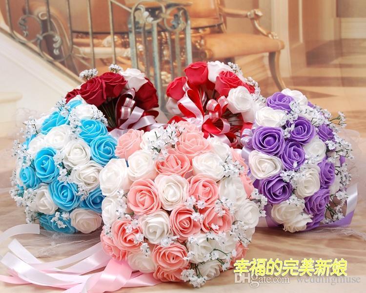 Sıcak Satış Güzel Renkli Yapay Güller Çiçekler Düğün Buket Mükemmel Düğün Iyilik Gelin El Çiçekler Holding Ucuz DL1313702