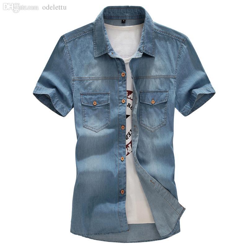 도매 데님 셔츠 남성 캐주얼 망 패션 여름 큰 크기 L-6XL 7XL 8XL 반팔 솔리드 맨 셔츠