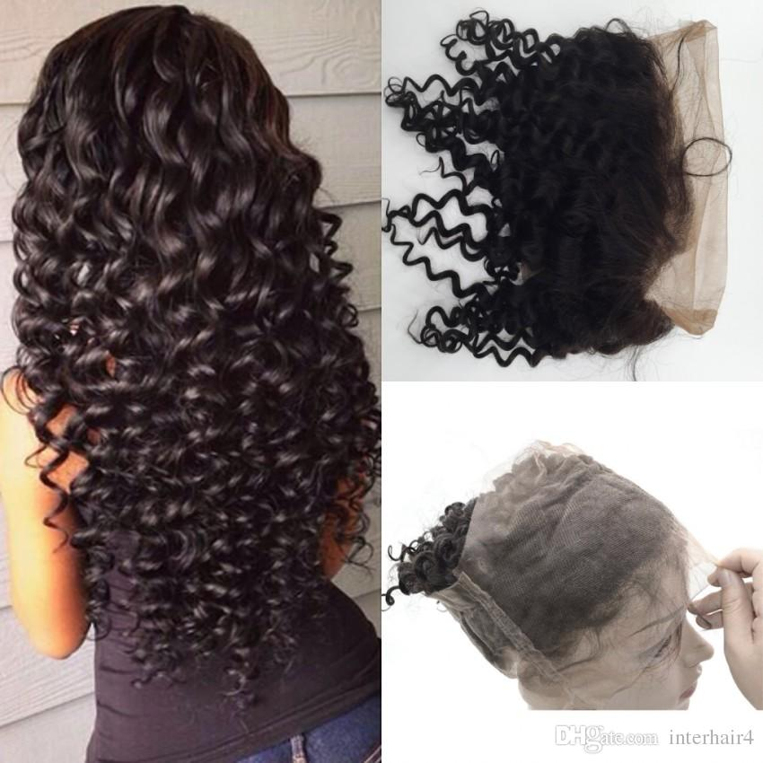 360 Full Lace Frontal Mongolian 22x4 Band Lace Front Frontal Deep Wave Human Hair c