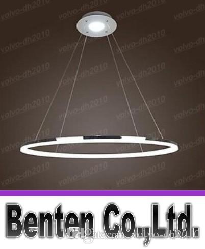 Colgante Luz Diseño moderno Living LED Anillo Blanco 1 anillo 35w Acabado acrílicoEl diámetro es de 80 cm Se usa en la sala de estar y el dormitorio