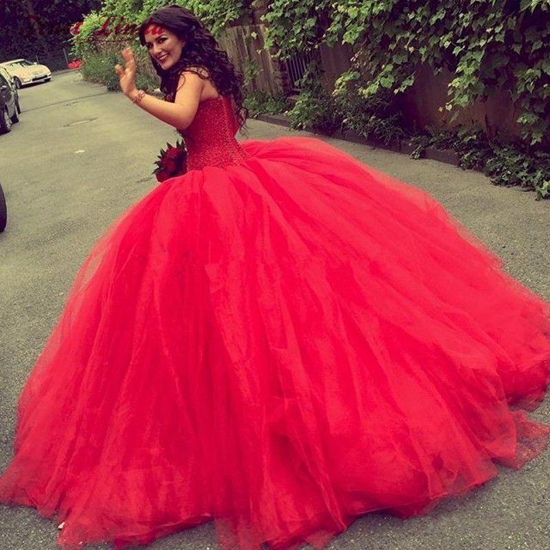 Acheter Robe De Mariage Princesse Robe De Bal Rouge Robe De Mariee Bling Bling Cristaux De Luxe Robes De Mariee De Mariee Sur Mesure Robe De Noiva De