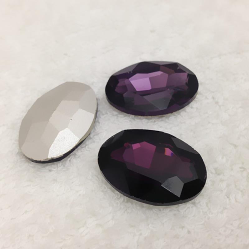(Pode escolher 10 cores), 20x30mm 60 pcs / color Oval Vidro Rhinestone Cristal Pointback gemas Decoração Para O vestido de Casamento / Sacos