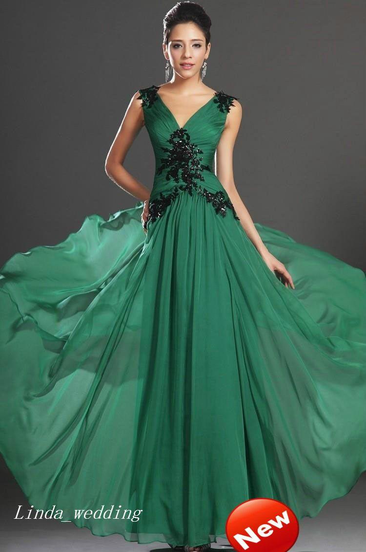 Großhandel Smaragdgrünes Abendkleid A Line V Neck Backless Chiffon Langes  Kleid Für Besondere Anlässe Prom Party Gown Von Linda_wedding, 11,11 € Auf
