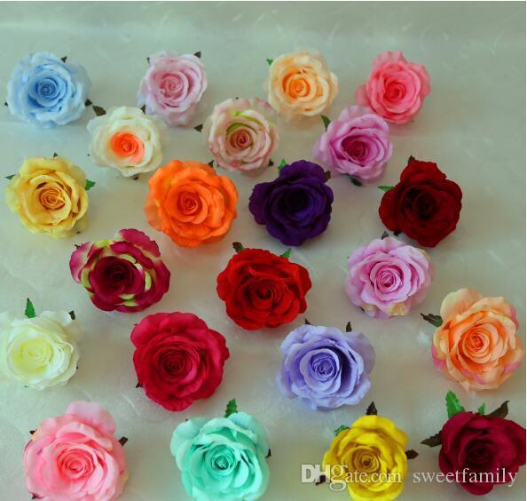 100pcs 11cm Ivory Artificial Flowers Silk Rose Head Diy Decor Vine Flower Wall Wedding Party Decoration Gold Artificial Flowers For Decor